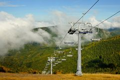 Ski lift in autumn nature Stock Image
