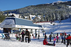 Ski lift at Blackcomb mountain base Stock Photos