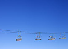 Ski-lift and blue clear sky Royalty Free Stock Images