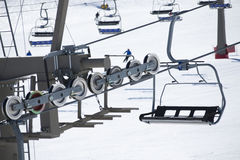 Ski lift on bright winter day Stock Photography