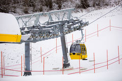 Ski lift cabin on the ski slope at Austrian Alps Royalty Free Stock Photography