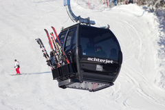 Ski lift cable booth Royalty Free Stock Photography