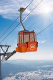 Ski lift cable booth or car. In the sky Stock Images