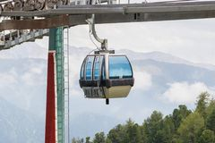 Ski lift cable booth or car Royalty Free Stock Images
