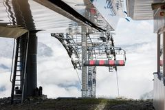 Ski lift cable booth or car Stock Photo