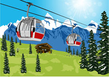 Ski lift cable booth or car Stock Photos