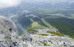Ski-lift cable car leading to Predne Solisko peak of Tatra mountains. High Tatras, Slovakia Stock Photo