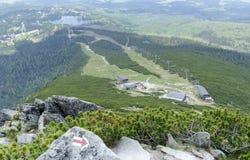 Ski-lift cable car leading to Predne Solisko peak of Tatra mountains. High Tatras, Slovakia Stock Image