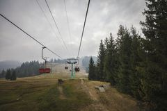 Ski lift in the Carpathians stock photography