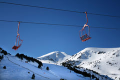 Ski lift chair. On a snowed pyrinees Stock Photography