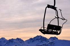 Ski lift chair on mountains Royalty Free Stock Photography
