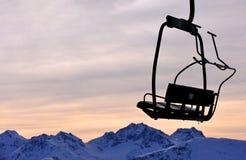 Ski lift chair on mountains. Italian Alps Royalty Free Stock Photography