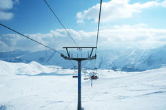 Ski lift chairs. On bright winter day Stock Photography