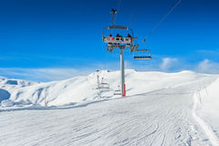 Ski lift chairs in the Alps,La Toussuire,France,Europe Royalty Free Stock Images
