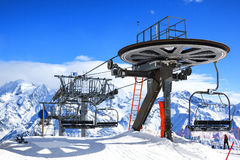 Ski lift chairs Stock Image