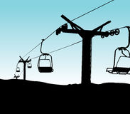 Ski lift chairs. Silhouette of ski lift chairs royalty free illustration