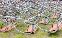 Ski lift chairs waiting to be used in the Alps Royalty Free Stock Photography