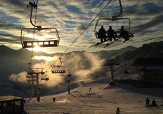 Ski lift in the clouds stock image