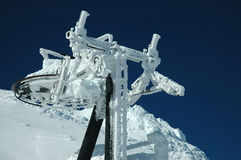 Ski lift covered with snow Stock Photo