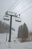 Ski Lift and flurries Stock Image