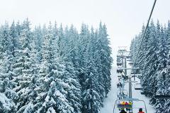 Ski lift in the forest Stock Images