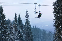 Ski lift in the forest Royalty Free Stock Images