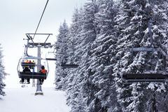 Ski lift in the forest Stock Photos