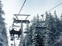 Ski lift in the forest Stock Photography