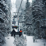 Ski lift in the forest Stock Image
