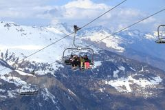 Ski lift in France Royalty Free Stock Photography