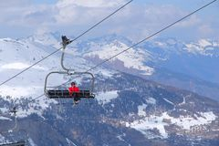 Ski lift in France Stock Photography