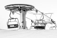 Ski lift in freezing day. Ruka ski resort, Finland royalty free stock photo