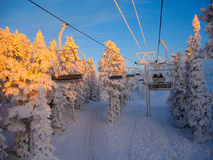 Ski-lift ghiacciati Fotografia Stock Libera da Diritti