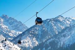 Ski lift, Gondola lift, cable car at Medeo Stock Photo