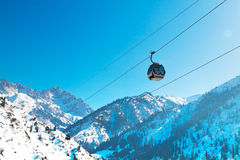 Ski lift, Gondola lift, cable car at Medeo to Royalty Free Stock Images