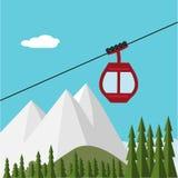 Ski Lift Gondola Snow Mountains, forêt Images stock