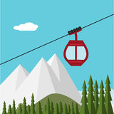 Ski Lift Gondola Snow Mountains, foresta Immagini Stock