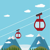 Ski Lift Gondola Snow Mountains, Wald Stockfoto