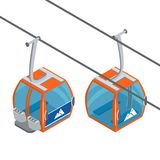 Ski Lift Gondolas moving. Isolated on white background. Illustration of winter transport for the advertising flyer, post vector illustration