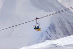 Ski lift. In Gudauri resort - Georgia Royalty Free Stock Photo