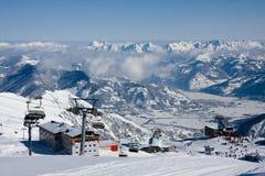 Ski lift in high mountains Stock Photo