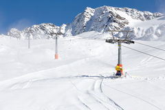Ski-lift in the italian alps Royalty Free Stock Photography