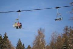Ski lift in italian Dolomites Royalty Free Stock Image