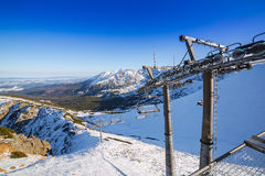 Ski lift on Kasprowy Wierch in Tatra mountains Stock Images
