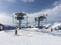 Ski lift at La Rosiere in the French Alps stock photos