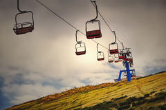 Ski lift mast in a summer mountain landscape at in the Alps Royalty Free Stock Photography