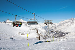 Ski lift on the Matterhorn Glacier Stock Image