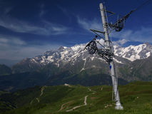 Ski lift with mont blanc. Ski lift in summer with mont blanc in the background Stock Photo