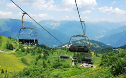 Ski Lift on Monte Zoncolan in Summer Stock Image