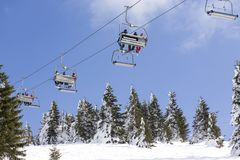 Ski lift on the mountain Royalty Free Stock Photo